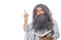 L'uomo anziano divertente isolato su bianco Fotografie Stock Libere da Diritti