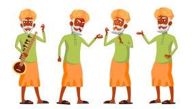 L'uomo anziano indiano posa il vettore stabilito indù Asiatico Anziani Persona senior invecchiato lifestyle Cartolina, copertura, illustrazione vettoriale