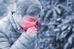 L'uomo anziano ottiene il raffreddore da fieno Immagine Stock
