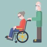 L'uomo anziano prende la cura della donna anziana sul illustra di vettore della sedia a rotelle Immagini Stock