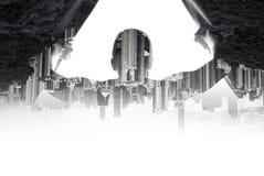 L'uomo apre le tende, collage di paesaggio urbano Fotografia Stock Libera da Diritti