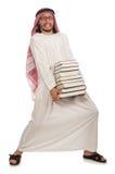 L'uomo arabo con i libri isolati su bianco Fotografia Stock Libera da Diritti