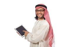 L'uomo arabo con il libro isolato su bianco Fotografia Stock