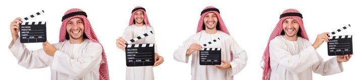 L'uomo arabo con la valvola di film su bianco Fotografie Stock Libere da Diritti