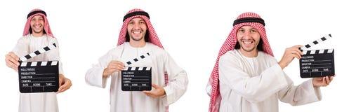 L'uomo arabo con la valvola di film su bianco Fotografia Stock