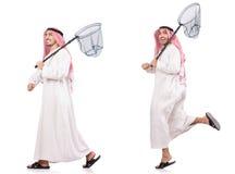 L'uomo arabo con rete di cattura isolata su bianco Fotografia Stock Libera da Diritti