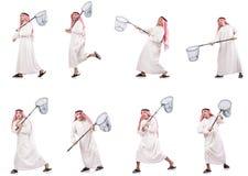 L'uomo arabo con rete di cattura isolata su bianco Immagini Stock