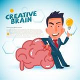 L'uomo astuto sta su accanto al cervello enorme cervello astuto e creativo a illustrazione vettoriale