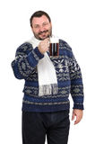 L'uomo barbuto grasso tiene la pinta della birra inglese Fotografia Stock
