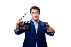 L'uomo bello con la valvola di film isolata su bianco Immagine Stock Libera da Diritti