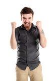 L'uomo bello emozionante di affari con le armi si è alzato nel successo Fotografie Stock