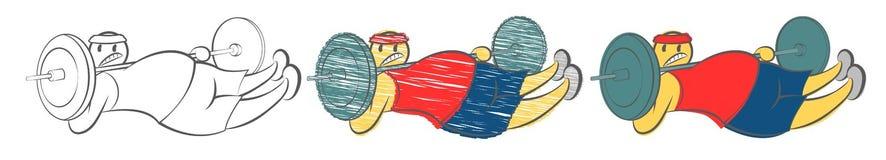 L'uomo cade il bilanciere sul collo Concetto di guasto e della sconfitta di sport Il tipo cade i pesi alla vite della palestra At illustrazione vettoriale
