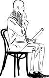 L'uomo calvo sta leggendo su una presidenza illustrazione di stock