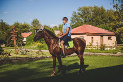 L'uomo cammina a cavallo Concetto: hobby, hobby, natura, animali Fotografia Stock