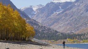 L'uomo cammina giù il letto di fiume con le montagne distanti stock footage
