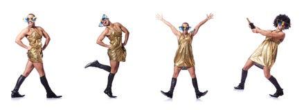 L'uomo in canto femminile dell'abbigliamento con il mic immagini stock