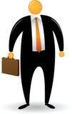 L'uomo capo arancione porta la cartella Fotografie Stock Libere da Diritti