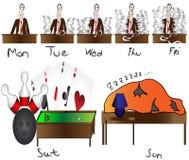 L'uomo che conta il giorno lavora il fine settimana Immagine Stock