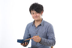 L'uomo che mangia un pranzo Fotografia Stock Libera da Diritti