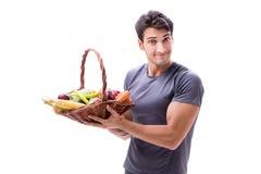 L'uomo che promuove i benefici del cibo sano e di fare mette in mostra Immagini Stock
