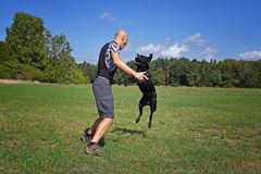 L'uomo che salta con il cane Fotografia Stock