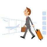 L'uomo che va su un viaggio di affari all'estero Immagini Stock