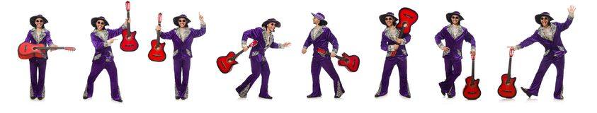 L'uomo in chitarra divertente della tenuta dell'abbigliamento isolata su bianco Immagine Stock Libera da Diritti