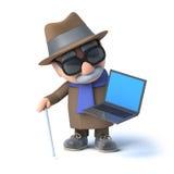 l'uomo cieco 3d ha un pc del computer portatile Immagine Stock Libera da Diritti