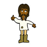 l'uomo comico di hippy del fumetto che dà i pollici aumenta il simbolo Immagine Stock