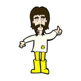 l'uomo comico di hippy del fumetto che dà i pollici aumenta il simbolo Immagini Stock