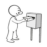 L'uomo comico trasmette una lettera Illustrazione Vettoriale