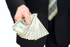 L'uomo con i dollari Fotografia Stock