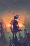 L'uomo con il braccio robot che sta sulle costruzioni rovinate illustrazione di stock