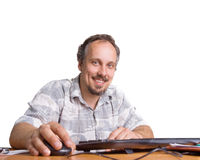 L'uomo con il calcolatore Fotografie Stock