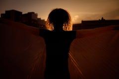 L'uomo con il panno in sue mani, stanti davanti alla siluetta della città Immagine Stock