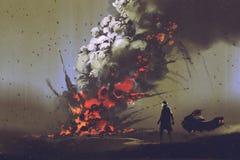 l'uomo con il suo veicolo che esamina esplosione della bomba sulla terra illustrazione di stock