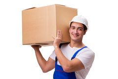 L'uomo con le scatole isolate su bianco Immagini Stock