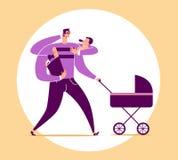 L'uomo con quattro armi porta il bambino, il passeggiatore, la borsa con i prodotti alimentari ed i colloqui sul telefono Concett illustrazione vettoriale