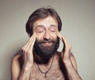 L'uomo con una grande barba ed i baffi Immagini Stock Libere da Diritti