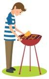 L'uomo cucina il barbecue Fotografie Stock Libere da Diritti