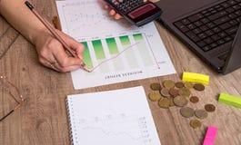 L'uomo d'affari è analizza i grafici commerciali Immagine Stock Libera da Diritti