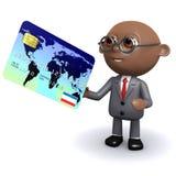 l'uomo d'affari afroamericano 3d usa una carta Fotografia Stock Libera da Diritti
