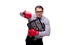 L'uomo d'affari aggressivo con i guantoni da pugile isolati su bianco fotografia stock libera da diritti