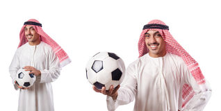 L'uomo d'affari arabo con calcio su bianco Fotografia Stock Libera da Diritti