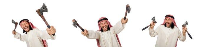 L'uomo d'affari arabo isolato su bianco immagini stock