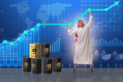 L'uomo d'affari arabo nel concetto di affari di prezzo del petrolio Immagini Stock Libere da Diritti