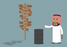 L'uomo d'affari arabo vende l'olio Immagine Stock
