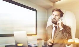 L'uomo d'affari barbuto sta parlando sul suo cellulare in treno, tonificato Fotografia Stock