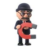 l'uomo d'affari britannico hatted del giocatore di bocce 3d ha un magnete Fotografia Stock