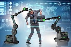 L'uomo d'affari che è manipolato dalle armi robot immagine stock